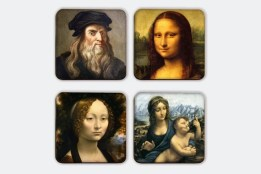 Leonardo da  Vinci - Magnetic Coasters Including Wooden Stand Set, Romantic Coaster Set, Art Coaster, Renaissance, FREE   SHIPPING