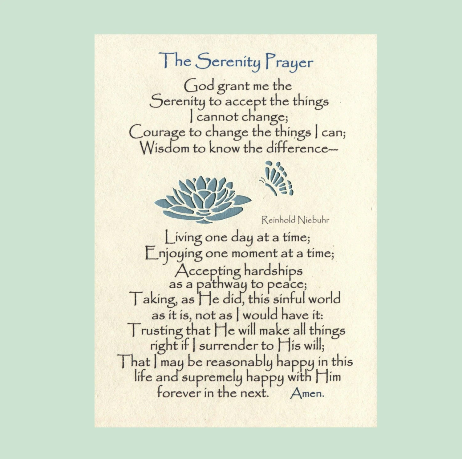 Serenity Prayer Long Version Lily Butterflies By Myserenityway