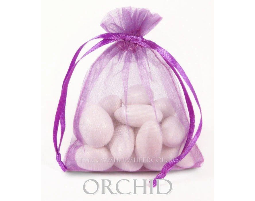30 Orchid Organza Bags, 4 x 6 Inch Sheer Fabric Favor Bags, For Wedding Favors, Jewelry Pouches - SheerColors