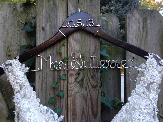 Wedding Dress Hanger With Date Bride Hanger Name Hanger