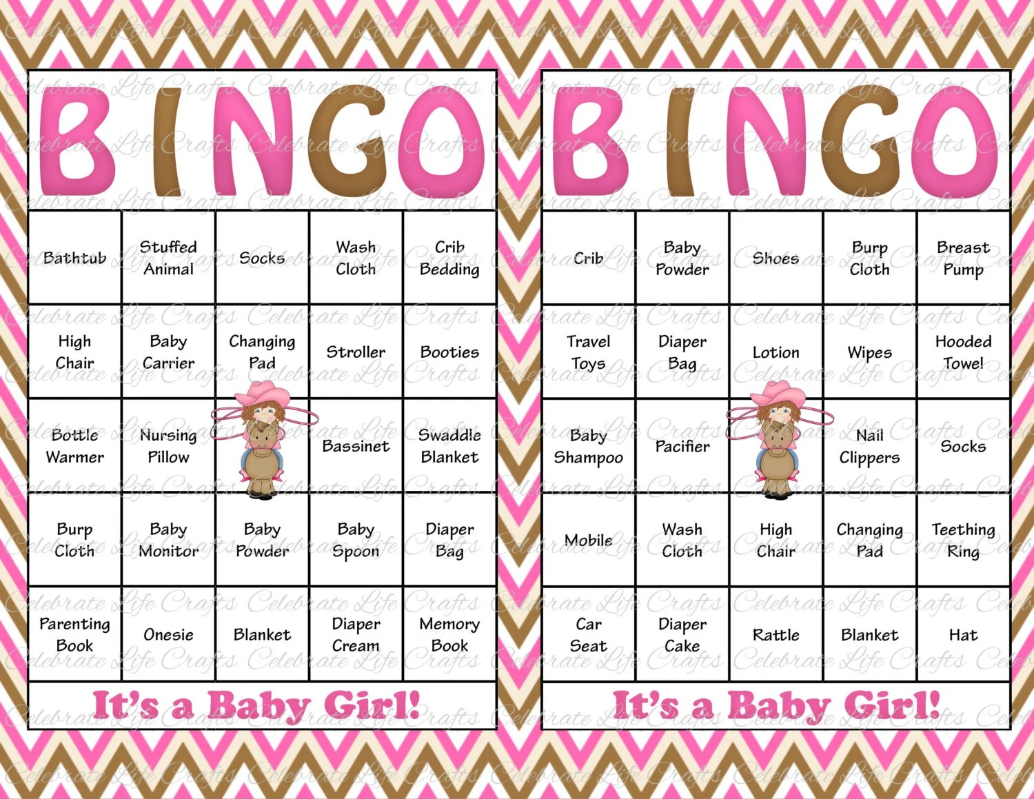 60 Baby Shower Bingo Cards Printable Party Baby Girl