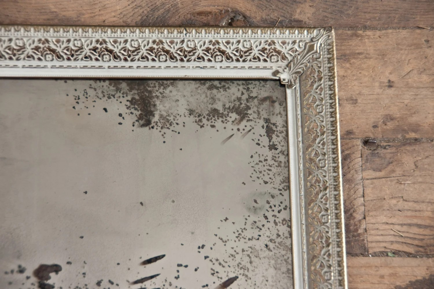 Antiqued Silver Mirror Distressed Mirror Framed Silver Glass