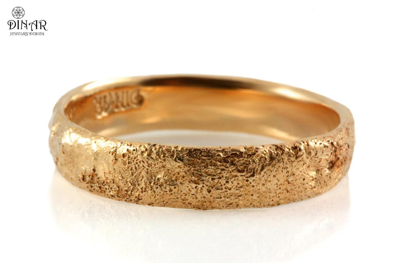 14k Rose Gold Hammered Wedding Band Tree Bark Texture