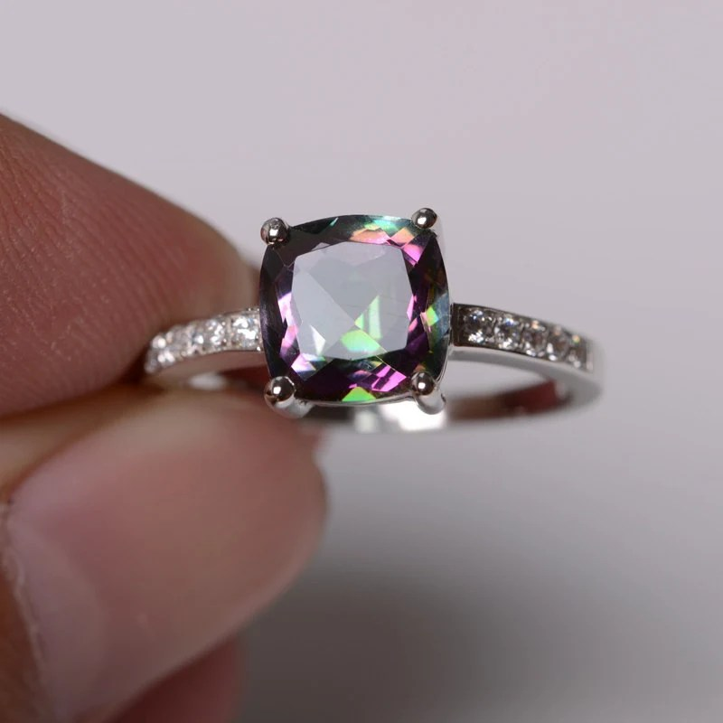 Mystic Topaz Ring Sterling Silver Ring Engagement Ring Cushion