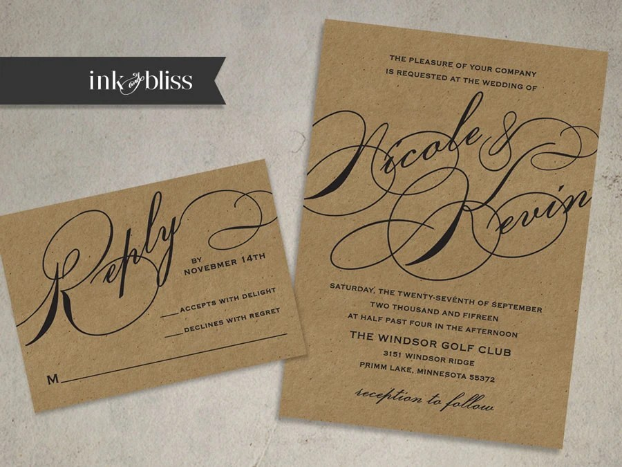 Diy Kraft Paper Wedding Invitations: Kraft Wedding Invitation And Reply Card