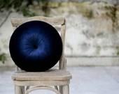 Navy blue velvet round pillow
