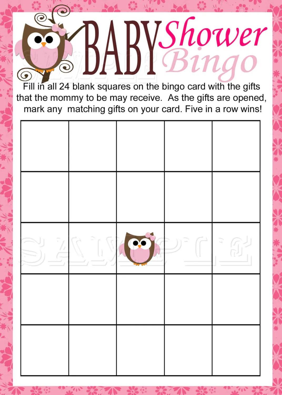 Baby Owl Bingo Game Printable Pink Baby Shower Instant