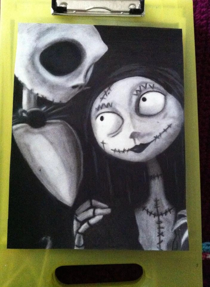 Jack And Sally The Nightmare Before Christmas Pastel Drawing