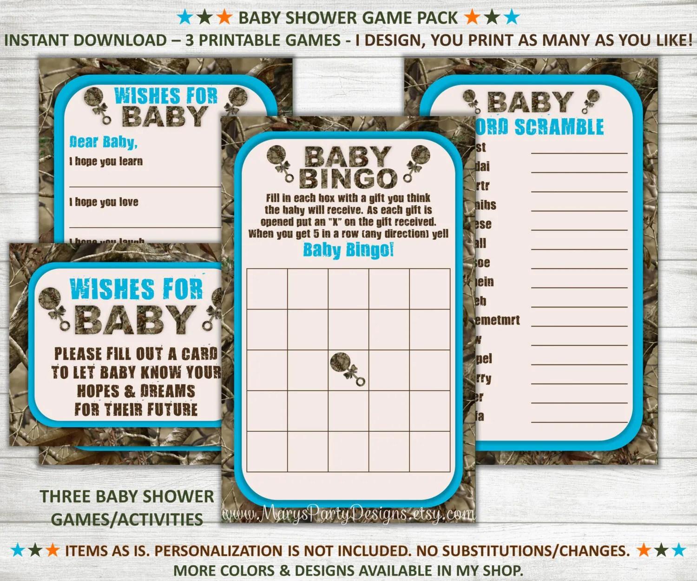 Camo Baby Shower Games Wishes For Baby Bingo Word Scramble
