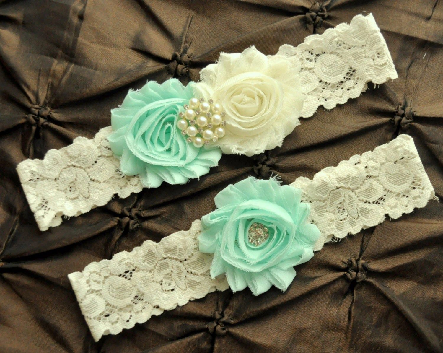 Wedding Garter Bridal Garter Set Ivory Lace Garter Ivory