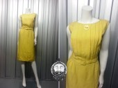 Vintage 50s SAMBO Yellow Wiggle Dress Sheath Pencil Mad Men Button Pinup 1950s Dress Bombshel Dress Pleated Top 60s Sleeveless Dress Belted