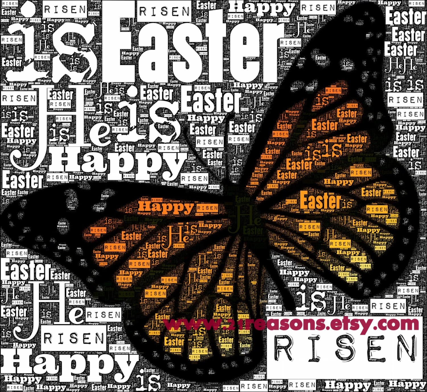 Easter Art - Printable JPEG 8 x 10 Happy Easter Monarch Butterfly Word Art, Personal  or commercial use), clip art, cardmaking, etc.