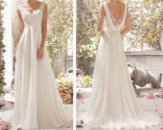 White /Ivory Chiffon Wedding Dress Lace Cap Sleeve By MJDRESS
