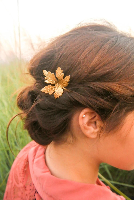 Leaf Hair Clip Gold Maple Leaf Hair Pins Maple Rustic Wedding