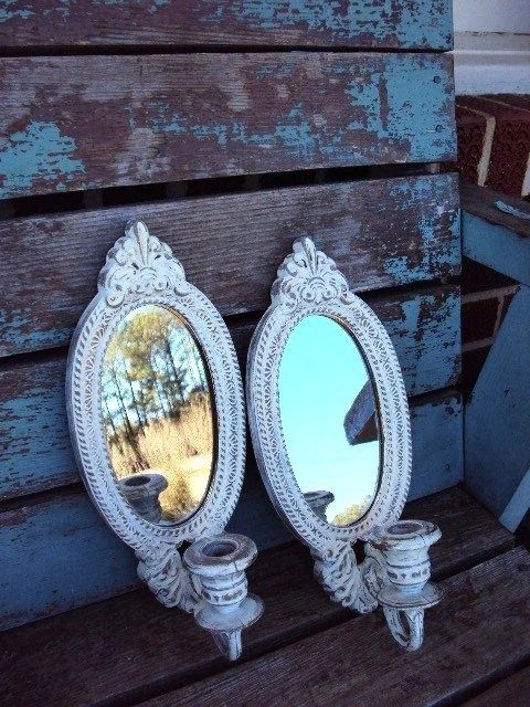 Vintage Shabby Chic Candle Holder Sconce by ... on Antique Style Candle Holder Sconces id=85787
