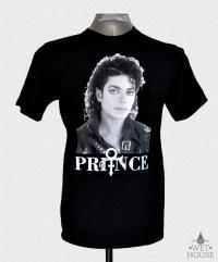 Michael Jackson Face Prince Symbol T-Shirt // black shirt white ink