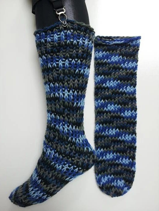 On A Loom Knitted Boot Cuffs