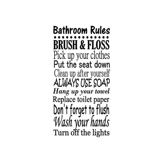 bathroom rules decal vinyl wall art family room decor