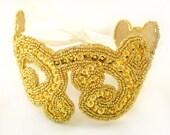 Golden Radiance Beaded Sequin Ribbon Headband Hair Accessory in Gold and Ivory - MegansBeadedDesigns