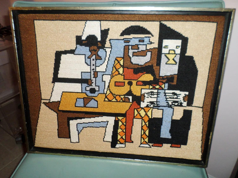 Midcentury Modern Music Vintage Picasso Needlepoint