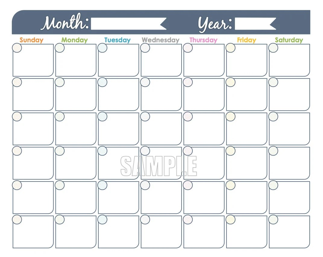 Monthly Calendar Printable Undated Editable Family