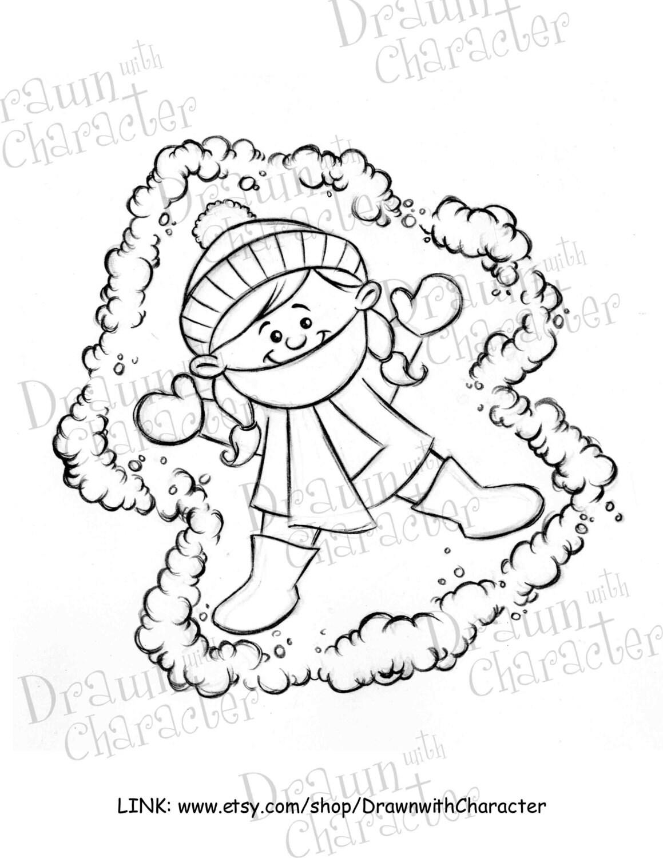 Kid Snow Angel Digital Clip Art Kopykake Image