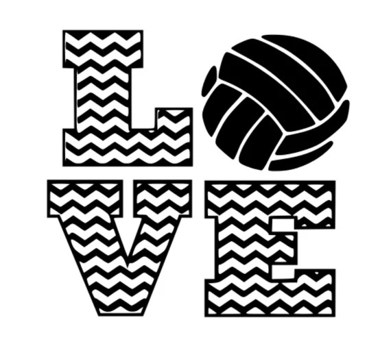 Download Chevron Volleyball Love .svg dxf cutting file vinyl or ...