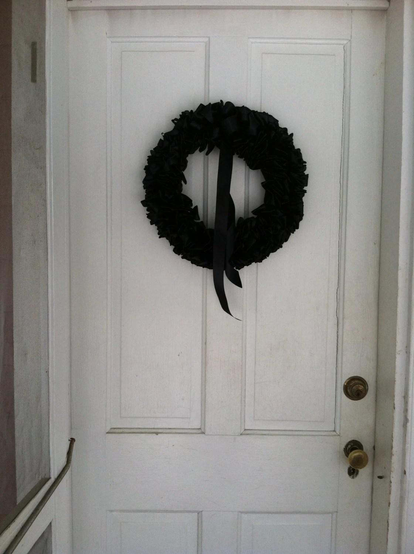 Black Mourning Wreath Door