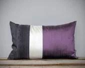Silk Color Block Pillow (12x20) Radiant Orchid, Cream + Gray by JillianReneDecor | Pantone 2014 | Lavender | Purple | Luxury Gift for Her - JillianReneDecor