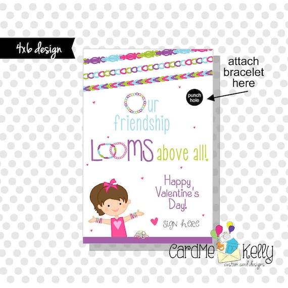 INSTANT DOWNLOAD Printable Rainbow Loom Bands Brunette Girlie Friendship Bracelet Valentines Day Cards