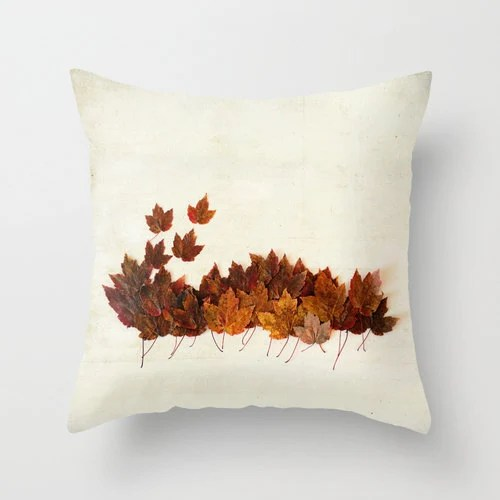 Decorative Pillow Cover- Photo Pillow Case- Maple Leaves, Autumn Leaves Accent Pillow Case- Red, Orange, Brown, Fall Leaves- 16x16, 18x18 - kellynphotography
