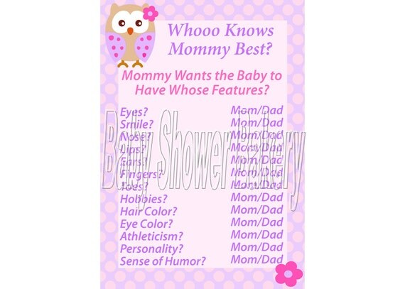 Mom Or Dad Baby Shower Game Questions