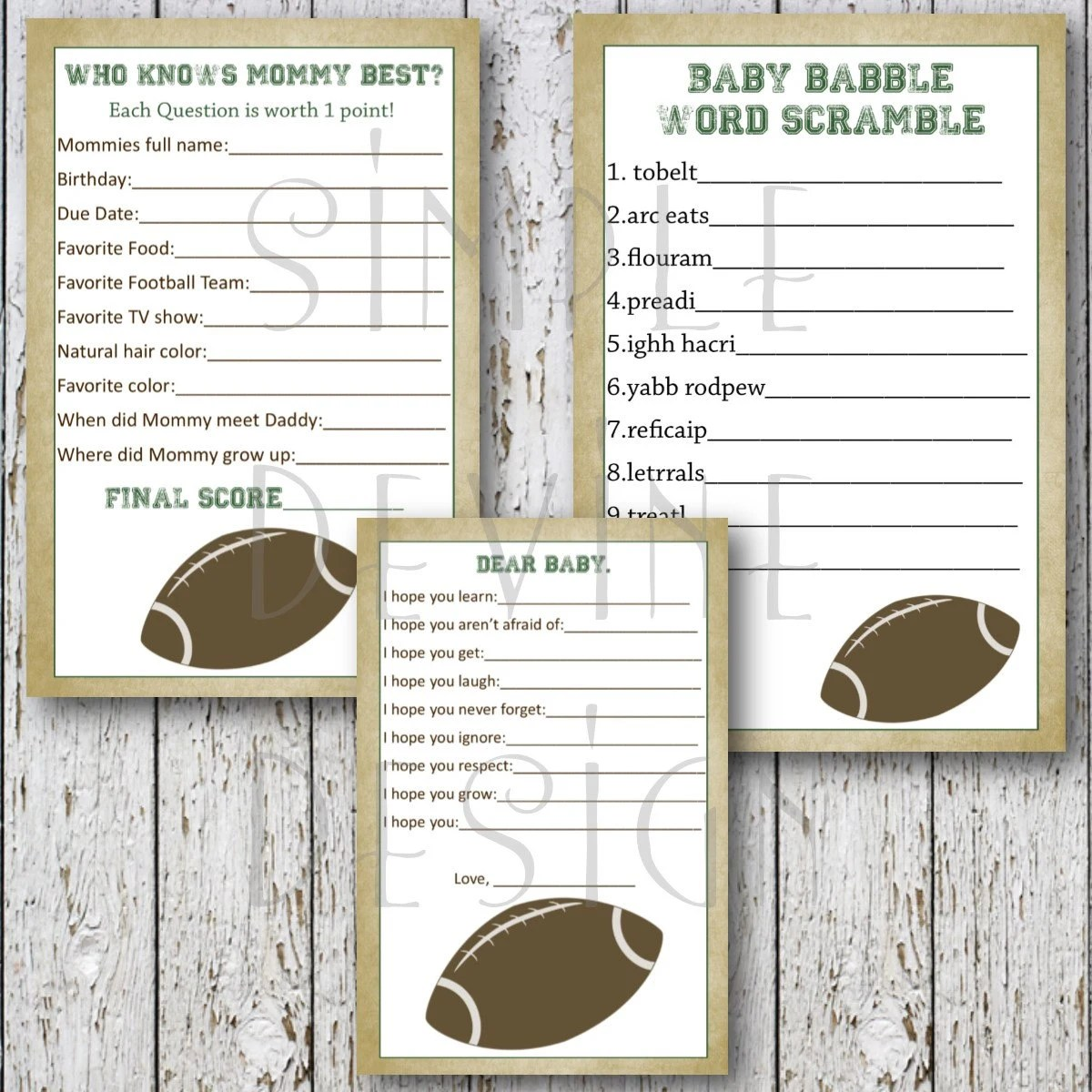Football Baby Shower Printable Games 3 Pack By Simpledevinedesign