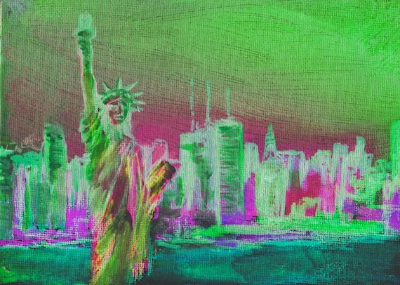 Tower Painting York Skyline New Watercolor And Liberty Statue Twin