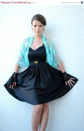 ON SALE Cyan lace shrug. 4 ways shawl- shrug, shawl, twisted shawl and a scarf. Teal color lace top - noavider