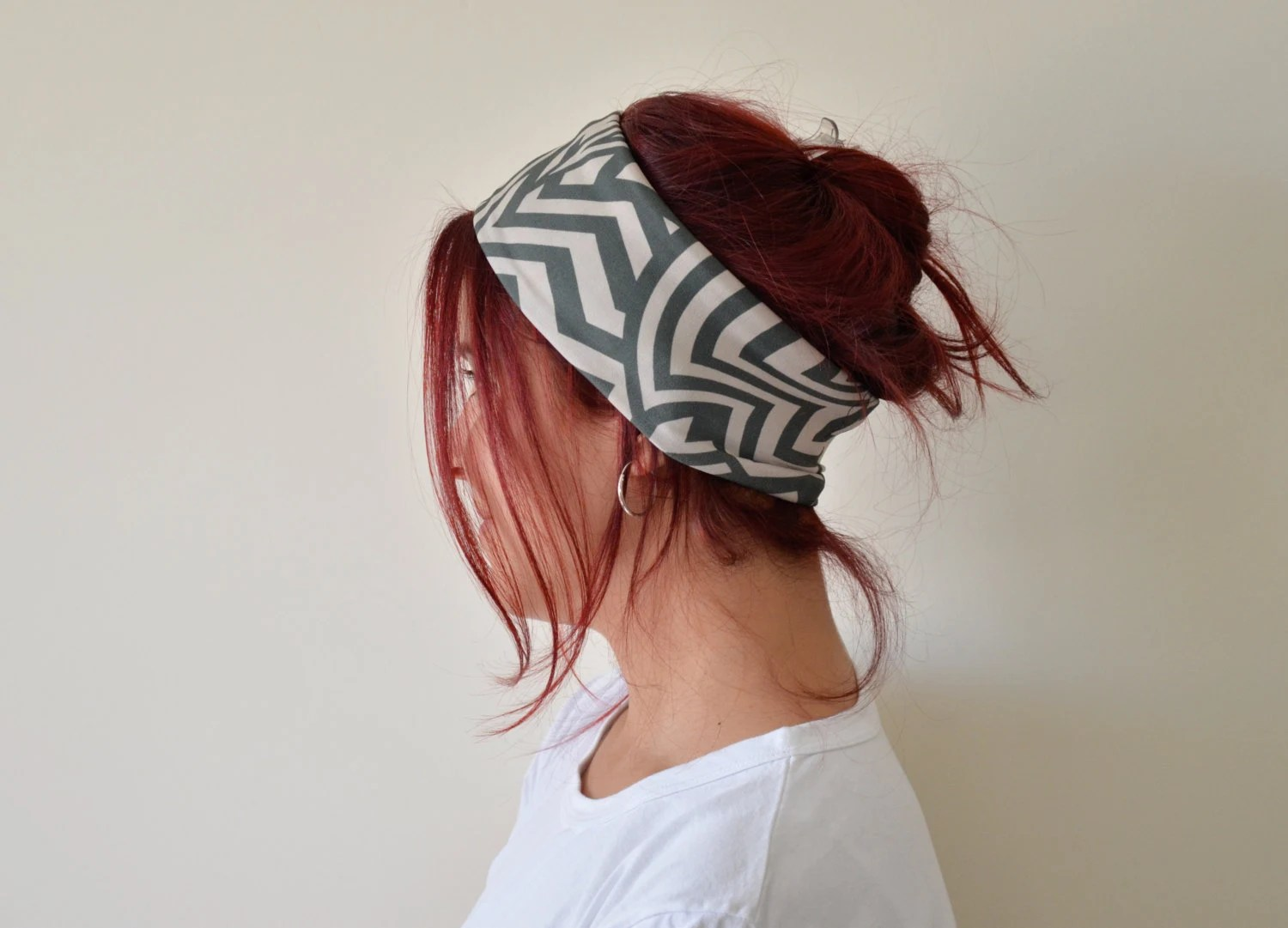 Khaki Cream Tribal Geometric Stretch Hairband Headband Fabric Hairband Fashionable Hair Accessories Designscope Gift Ideas for Her - designscope