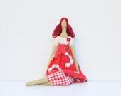 Cloth doll in bright red dress cute fabric doll blonde art doll stuffed doll, rag doll  birthday gift for girls - HappyDollsByLesya