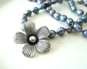 Gray Knotted Pearl Necklace with Fine Silver Flower Pendant - TheBrassHussy