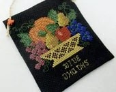 Thanksgiving / Harvest Cross Stitched Fruit Bowl Hanging Ornament /Fall /Autumn - luvinstitchin4u