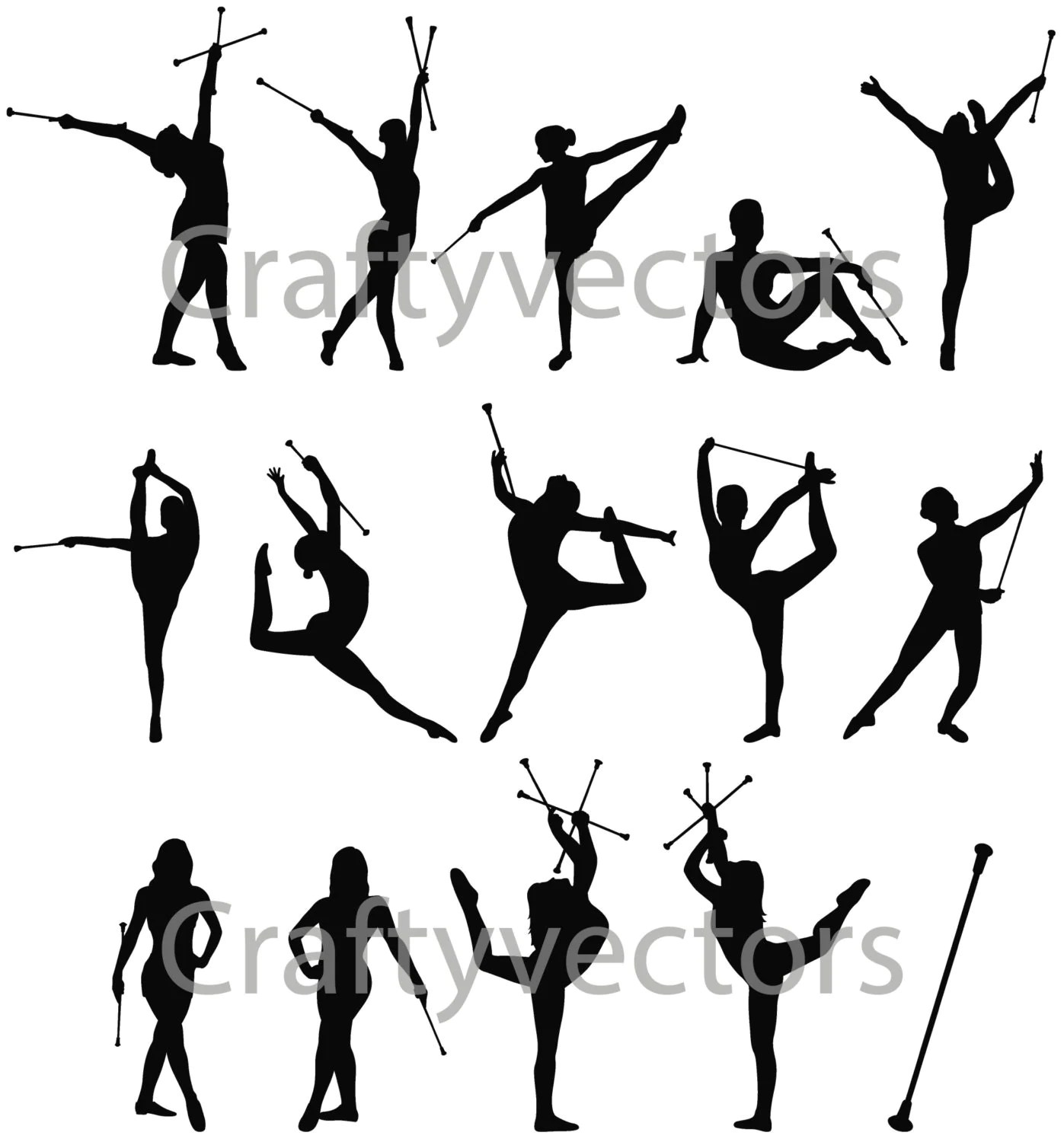 Baton Twirling Vector File By Craftyvectors On Etsy