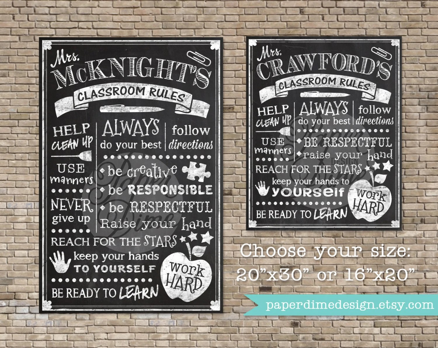 Classroom Rules Chalkboard Poster Sign Teacher By