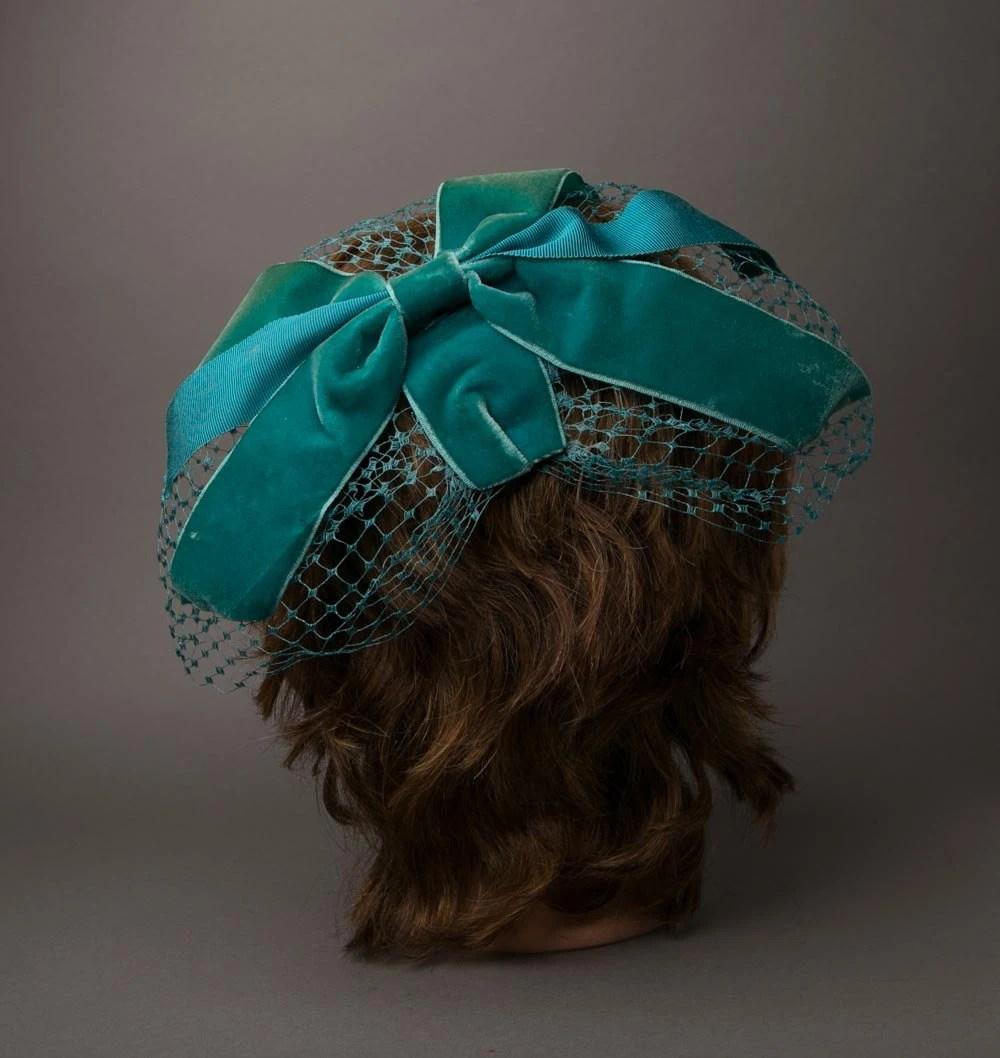 teal velvet bow/veil hat (etsy)