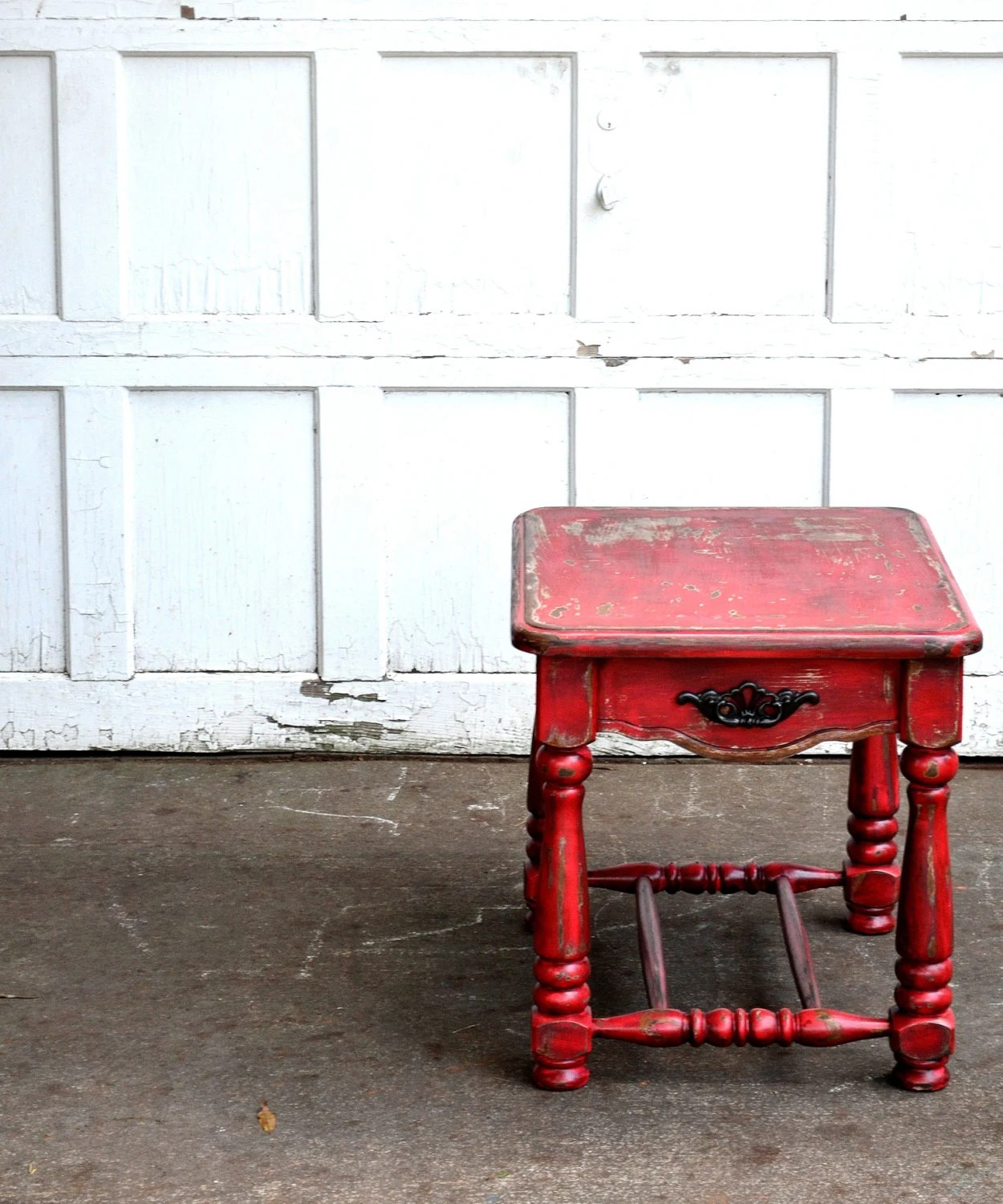 Chalk painted distressed furniture barn red rustic fall sidetable hand painted using homemade chalk paint autumn decor shabby chic boho - BlackSheepMill