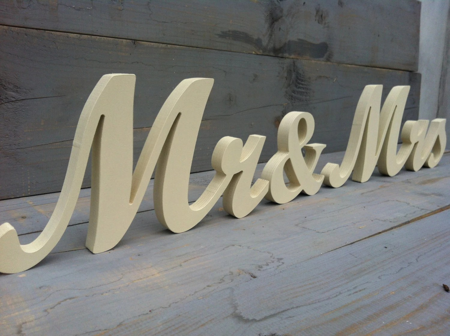 Items Similar To Mr&Mrs Wedding Wood Sign Wood Script
