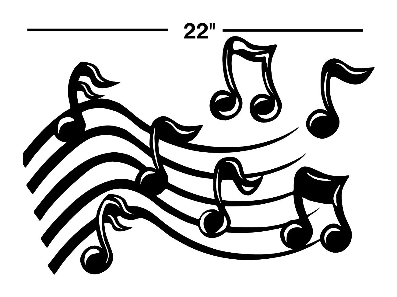 22 Music Staff Notes Decal Sticker Wall Art Car By