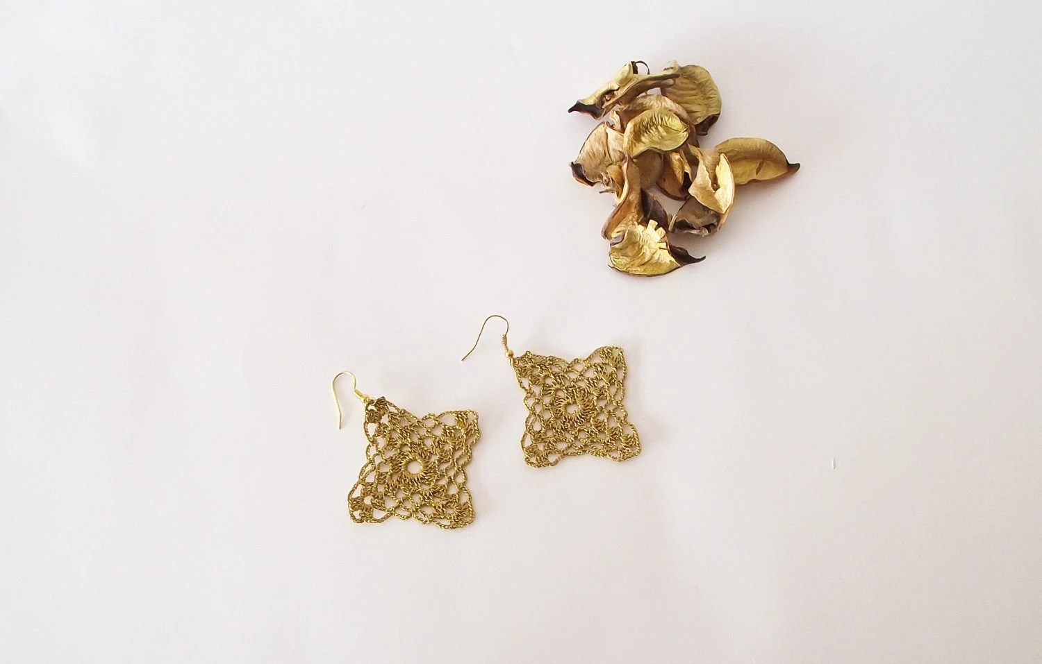 Golden Lace Earrings, Crochet Earrings, Dangle Earrings, Golden Crochet  ReddApple, Christmas Gift Ideas for Her - ReddApple