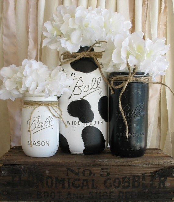 Cow Print Kitchen Decor Mason Jar Black White