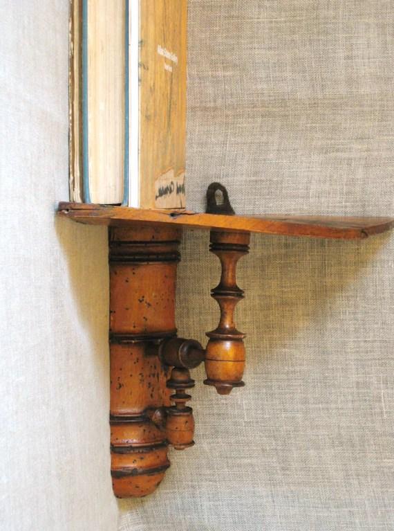 Antique Primitive Corner Shelf / Small Shelf / Sconce Shelf on Corner Sconce Shelf Cabinet id=48171