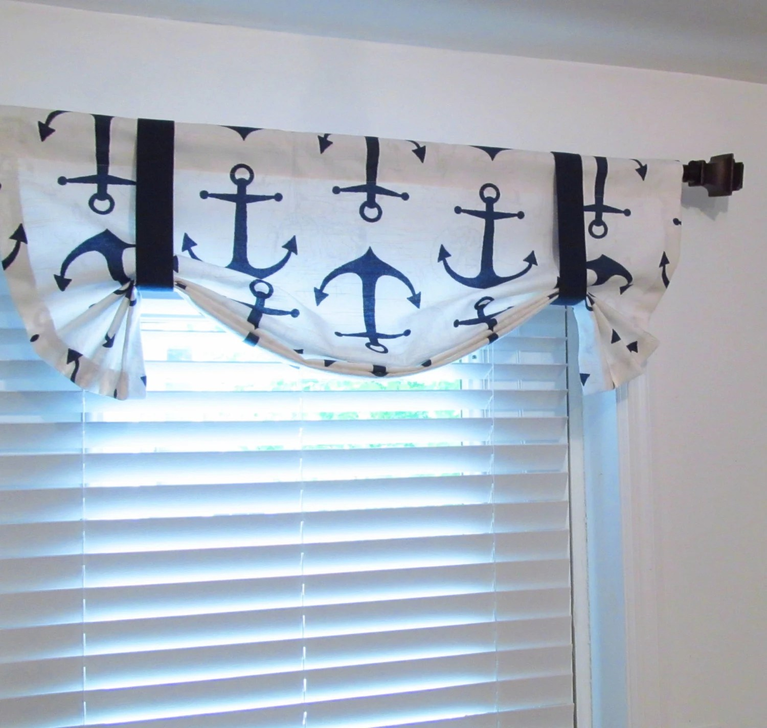 Anchors Tie Up Valance Nautical Curtain Navy Blue White