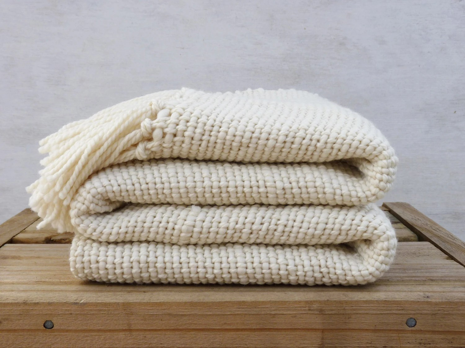 chunky ecru wool blanket natural organic merino wool off white throw blanket ready to ship. Black Bedroom Furniture Sets. Home Design Ideas